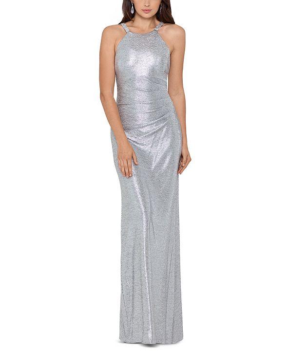 Betsy & Adam Metallic Halter Gown