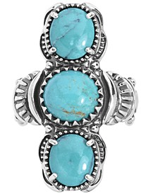 Turquoise Three Stone Elongated Ring in Sterling Silver