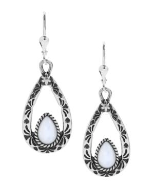 Teardrop Dangle Earrings in White Mother of Pearl or Blue Lapis