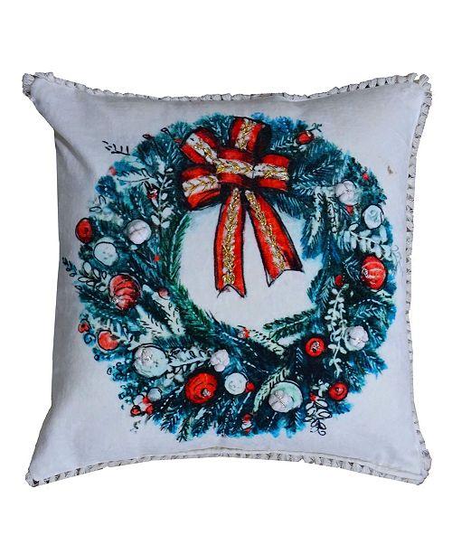 Chicos Home Christmas Wreath Pillow Cover
