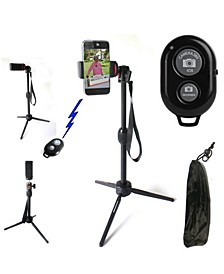 Adjustable Tripod with Wireless Bluetooth Shutter Release and Smartphone Adapter
