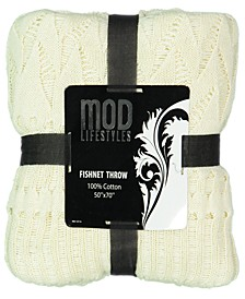 Classic Throw Collection Cotton Fishnet Knit