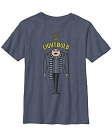 Despicable Me Big Boy's Minions Gru Light Bulb Short Sleeve T-Shirt