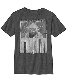 Star Wars Big Boy's Yoda Poster Words of Wisdom Short Sleeve T-Shirt