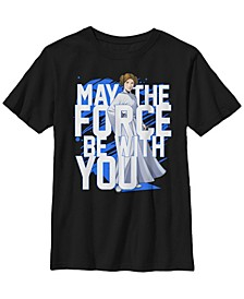 Star Wars Big Boy's Force Be With You Princess Leia Short Sleeve T-Shirt