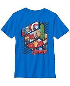 Marvel Big Boy's Assemble Avenger Face Panels Short Sleeve T-Shirt