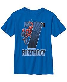 Marvel Big Boy's Spider-Man Swinging 7Th Birthday Short Sleeve T-Shirt