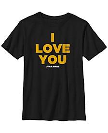 Star Wars Big Boys Princess Leia I Love You Short Sleeve T-Shirt