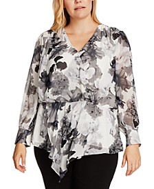 Plus Size Asymmetrical Floral Print Top