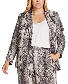 Plus Size Snakeskin-Print Jacket