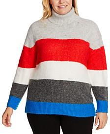 Plus Size Striped Turtleneck Sweater
