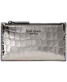 Sylvia Croc Embossed Slim Bifold Leather Wallet
