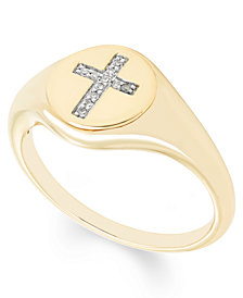 Diamond Accent Cross Signet Ring in 14k Yellow or Rose Gold