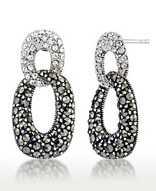 Marcasite and Crystal Pave Double Oval Post Earrings in Sterling Silver