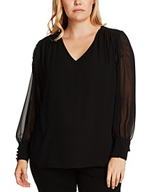 Plus Size Smocked Sleeve Blouse