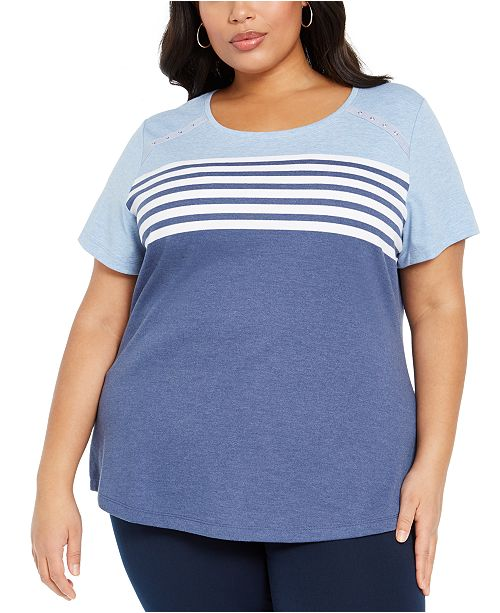 Karen Scott Plus Size Striped T-Shirt, Created for Macy's
