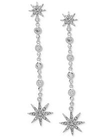 Silver-Tone Crystal Star Linear Drop Earrings