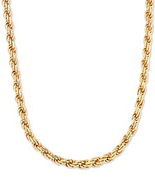 """Rope Link 22"""" Chain Necklace in 18k Gold-Plated Sterling Silver"""