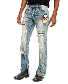 Men's Slim-Fit Crazed Distressed Jeans