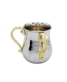 Stainless Steel Wash Cup with Gold-Tone Loop Handles