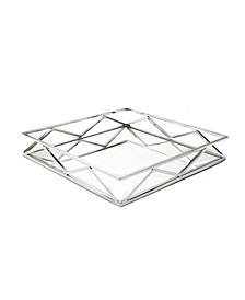Square Mirror Tray with V-Shaped Designs