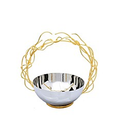 Stainless Steel Bowl with Round Gold-Tone Removable Twig Handle