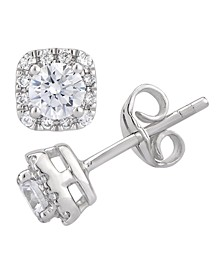 Certified Diamond 3/4 ct. t.w. Cushion Halo Stud Earrings in 14k White Gold