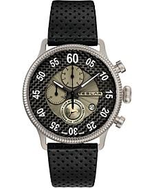 Men's Swiss Re-Balance T-1 Black Leather Strap Watch 44mm