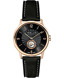 Men's Swiss Re-Balance T-1 Black Leather Strap Watch 40mm