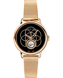 Women's Swiss Seed Of Life Rose Gold-Tone Stainless Steel Mesh Bracelet Watch 36mm