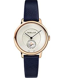 Women's Swiss Re-Balance T-1 Blue Leather Strap Watch 36mm