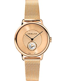 Women's Swiss Re-Balance T-1 Rose Gold-Tone Stainless Steel Mesh Bracelet Watch 36mm