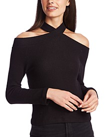High-Neck Cold-Shoulder Top