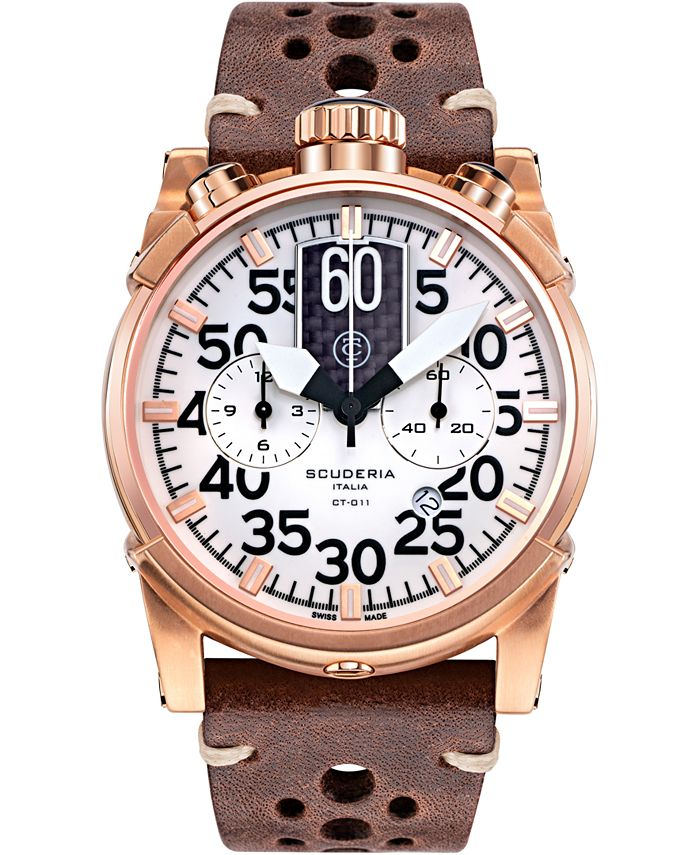 CT Scuderia - Men's Swiss Chronograph Saturno Brown Leather Strap Watch 44mm