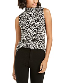 Animal-Print Textured Turtleneck Top, Created For Macy's