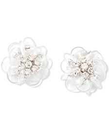 Silver-Tone Pavé Flower Stud Earrings