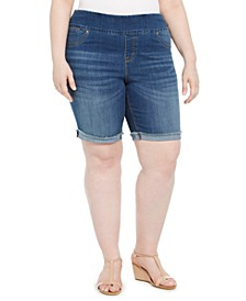 Plus Size Pull-On Denim Bermuda Shorts, Created For Macy's
