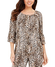 Ruffle-Sleeve Cheetah-Print Crepon Top, Created For Macy's