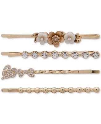 Gold-Tone 4-Pc. Set Flower & Crystal Bobby Pins