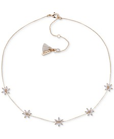 """Gold-Tone Crystal Flower Frontal Necklace, 16"""" + 3"""" extender"""