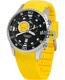 Men's Porto Cervo Professional Regatta Yellow Silicone Performance Timepiece Watch 47mm