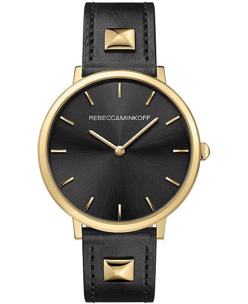 Rebecca Minkoff Women's Major Black Studded Leather Strap Watch 35mm