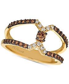 Chocolatier® Open-Band Chocolate Diamonds® & Vanilla Diamonds® Statement Ring (1/2 ct. t.w.) in 14k Gold