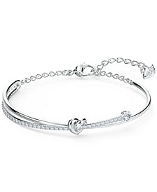 Silver-Tone Heart Knot & Crystal Bangle Bracelet