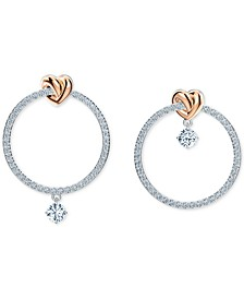 Medium Two-Tone Heart Knot & Crystal Mismatch Hoop Earrings, 1.375""