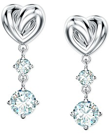 Heart Knot & Crystal Drop Earrings