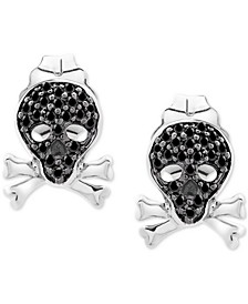 Diamond Skull Stud Earrings (1/10 ct. t.w.) in Sterling Silver
