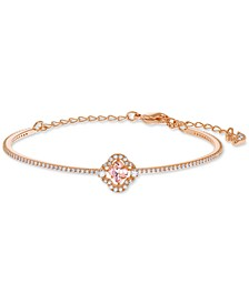 Rose Gold-Tone Crystal Clover Bangle Bracelet