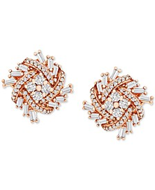 Diamond Pinwheel Cluster Stud Earrings (1/2 ct. t.w.) in 10k Rose Gold