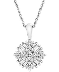 """Diamond Baguette Cluster 18"""" Pendant Necklace (1/3 ct. t.w.) in 10k White Gold"""